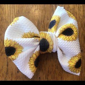 Sunflower Print Big Bow on Clip